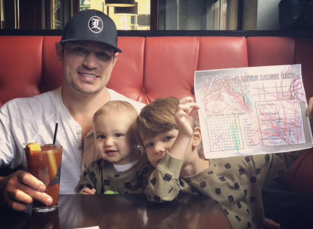 "<p>""Me and my boys enjoying one last hurrah at @lacheysbar,"" the 98 Degrees frontman, with sons Phoenix, 1, and Camden, 5, wrote, as he announced that his Ohio bar is <a href=""https://www.yahoo.com/entertainment/nick-drew-lachey-closing-sports-bar-two-months-shooting-201647325.html"" data-ylk=""slk:shutting down;outcm:mb_qualified_link;_E:mb_qualified_link"" class=""link rapid-noclick-resp newsroom-embed-article"">shutting down</a>. ""It's been an incredible 3 years full of lifelong memories. Thank you Cincinnati for helping me realize a dream and the chance to share it with multiple generations of Lacheys and Lachey fans. We will be closing it's doors after this Saturday night. Let's make some more amazing memories this weekend and send her out in style!"" (Photo: <a href=""https://www.instagram.com/p/Be1in_2A-mi/?taken-by=nicklachey"" rel=""nofollow noopener"" target=""_blank"" data-ylk=""slk:Nick Lachey via Instagram"" class=""link rapid-noclick-resp"">Nick Lachey via Instagram</a>) </p>"