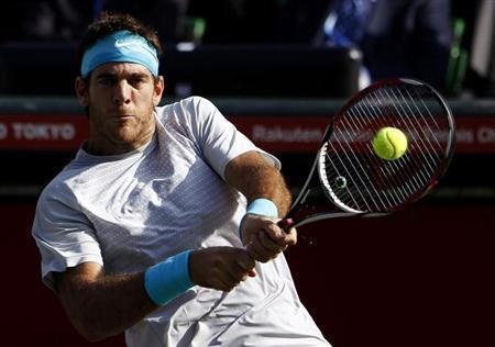 Del Potro of Argentina returns a shot against Raonic of Canada during their men's singles final match at the Japan Open tennis championships in Tokyo