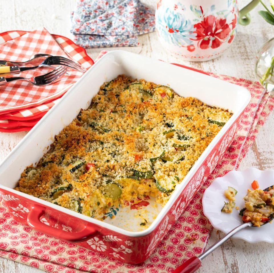 """<p>Looking for a new way to serve zucchini? Try covering it in a creamy cheese sauce with a crunchy panko topping. </p><p><a href=""""https://www.thepioneerwoman.com/food-cooking/recipes/a36502497/zucchini-casserole/"""" rel=""""nofollow noopener"""" target=""""_blank"""" data-ylk=""""slk:Get the recipe."""" class=""""link rapid-noclick-resp""""><strong>Get the recipe.</strong></a></p>"""