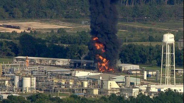 PHOTO: A fire burns at the Arkema chemical plant in Crosby, Texas, Sept. 1, 2017. (KTRK)
