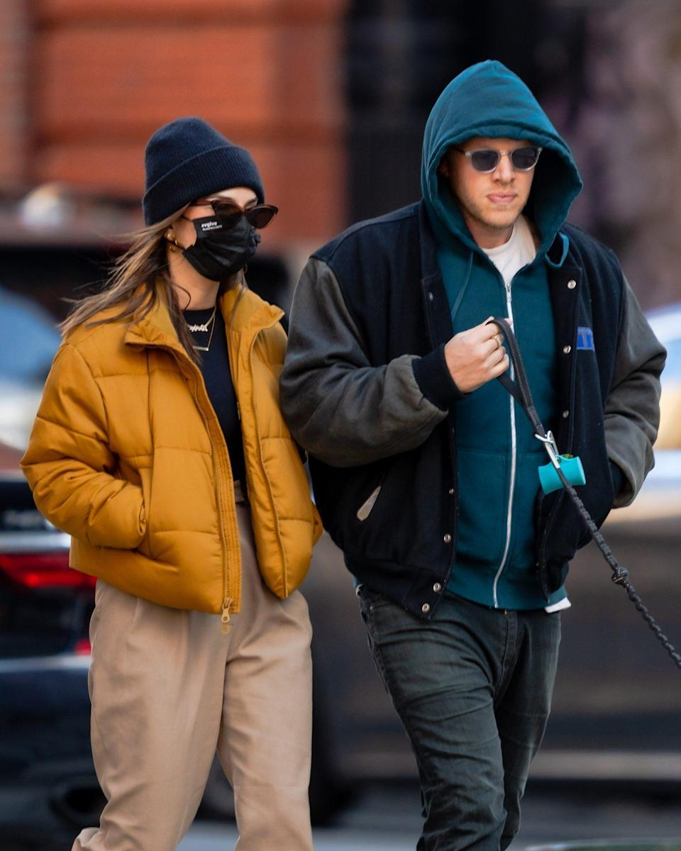 <p>New parents Emily Ratajkowski and Sebastian Bear-McClard take their dog for a walk in N.Y.C. on Monday.</p>