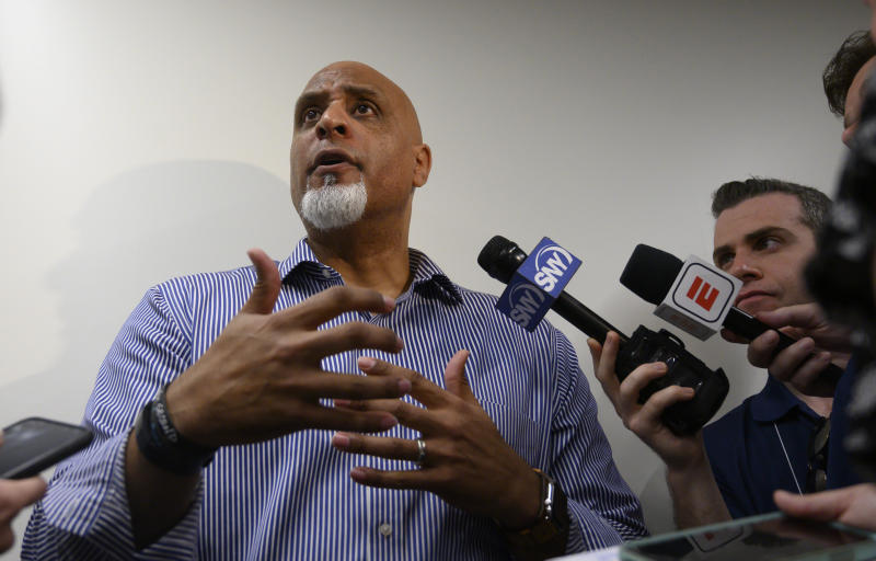Port St. Lucie, Florida: Executive Director of the Major League Baseball Players Association Tony Clark answering questions about the sign stealing scandal before a spring training workout on February 19, 2020 at Clover Park in Port St. Lucie, Florida. (Photo by Alejandra Villa Loarca/Newsday RM via Getty Images)