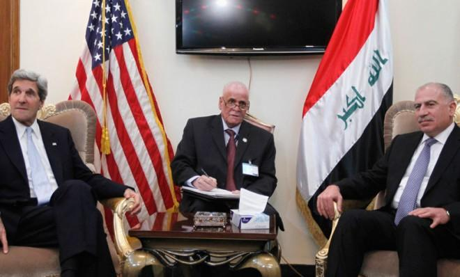 U.S. Secretary of State John Kerry meets with Iraq's Parliament Speaker Osama al-Nujaifion March 24 in Baghdad.