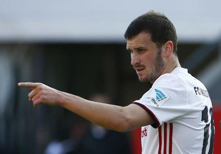 Ingolstadt's Pascal Gross celebrates scoring their first goal