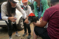 Turkish volunteers give water a dog near a wildfire in Turgut village, near tourist resort of Marmaris, Mugla, Turkey, Wednesday, Aug. 4, 2021. As Turkish fire crews pressed ahead Tuesday with their weeklong battle against blazes tearing through forests and villages on the country's southern coast, President Recep Tayyip Erdogan's government faced increased criticism over its apparent poor response and inadequate preparedness for large-scale wildfires.(AP Photo/Emre Tazegul)