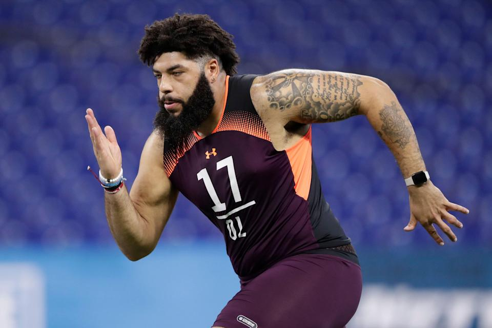 Oklahoma offensive lineman Cody Ford at the NFL scouting combine. (AP Photo)