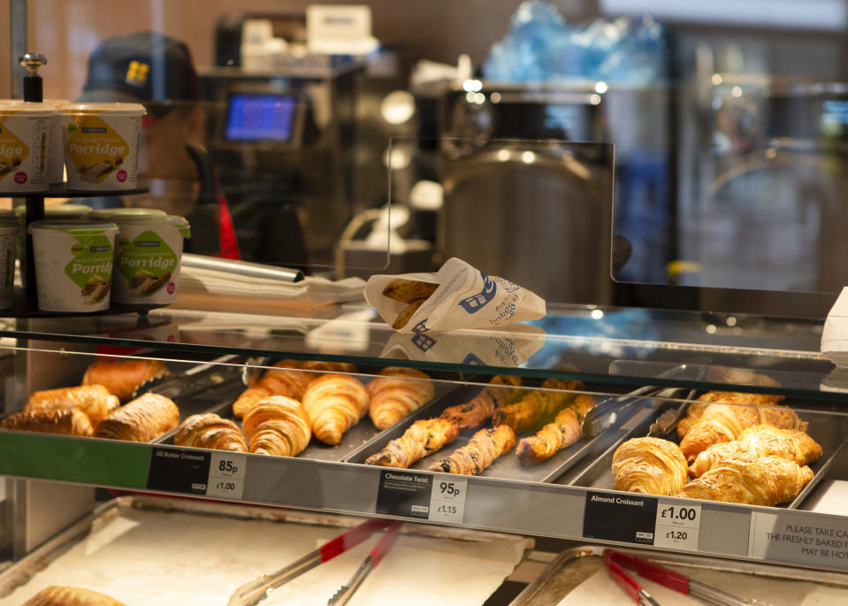 A customers food on the counter before they collect it as Greggs bakery reopens 800 stores nationwide. Greggs closed all of their bakery's due to the lockdown which was imposed across the UK due to the COVID-19 pandemic.  On June 18, 2020 in Southend-on-Sea, England. (Photo by Jacques Feeney/MI News/NurPhoto via Getty Images)
