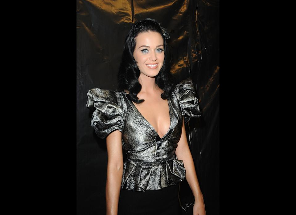 Katy Perry poses backstage during the Louis Vuitton Pret a Porter show as part of the Paris Womenswear Fashion Week Spring/Summer 2010 at Cour Carree du Louvre on October 7, 2009 in Paris, France.  (Photo by Pascal Le Segretain/Getty Images)