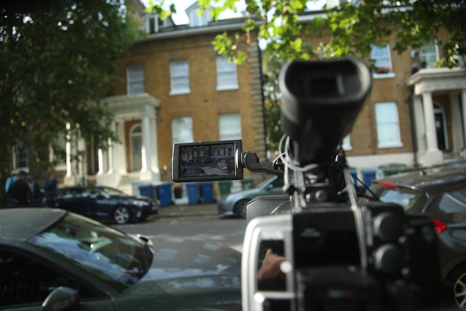 Media outside the home of Conservative party leadership candidate Boris Johnson, in south London.