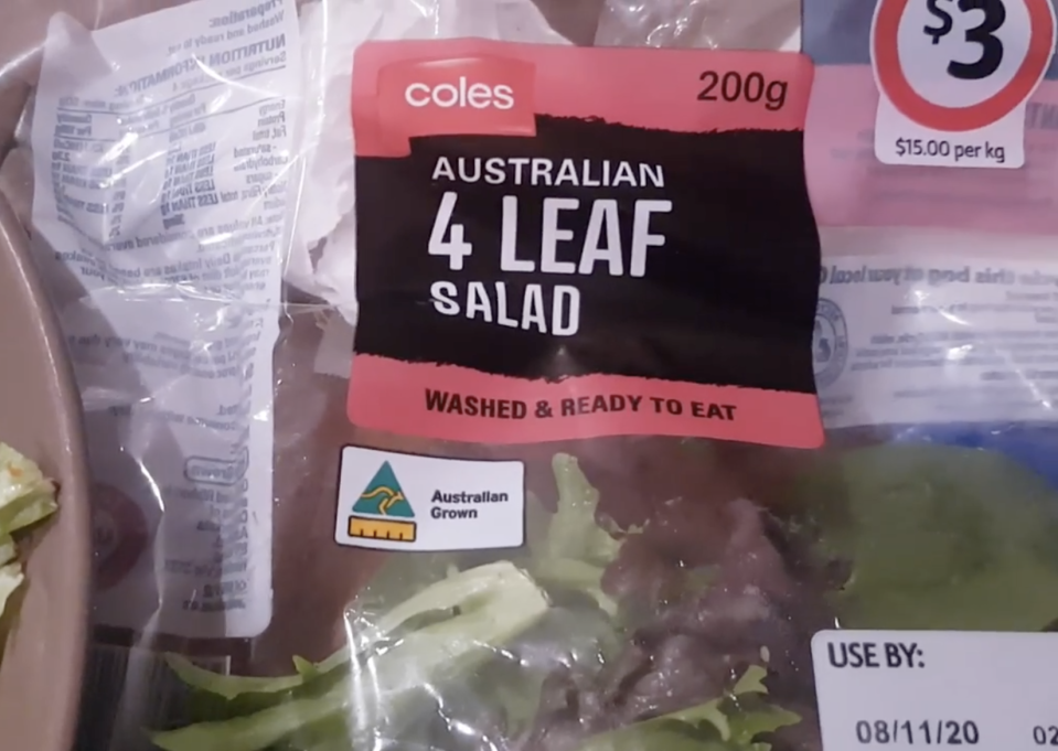 Bag of Coles Australian four leaf salad which had a worm inside.