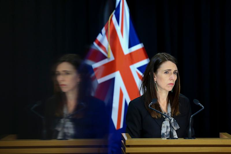 WELLINGTON, NEW ZEALAND - AUGUST 12: Prime Minister Jacinda Ardern speaks to media during a press conference at Parliament on August 12, 2020 in Wellington, New Zealand. COVID-19 restrictions have been reintroduced across New Zealand after four new COVID-19 cases were diagnosed in Auckland. (Photo by Hagen Hopkins/Getty Images) (Photo: Hagen Hopkins via Getty Images)