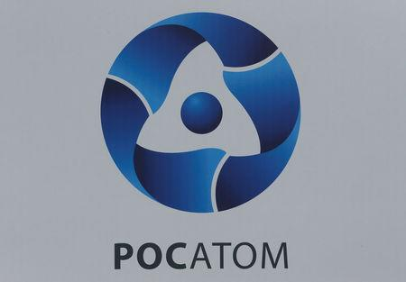 FILE PHOTO: The logo of Russian state nuclear corporation Rosatom is seen on a board at the SPIEF 2017 in St. Petersburg