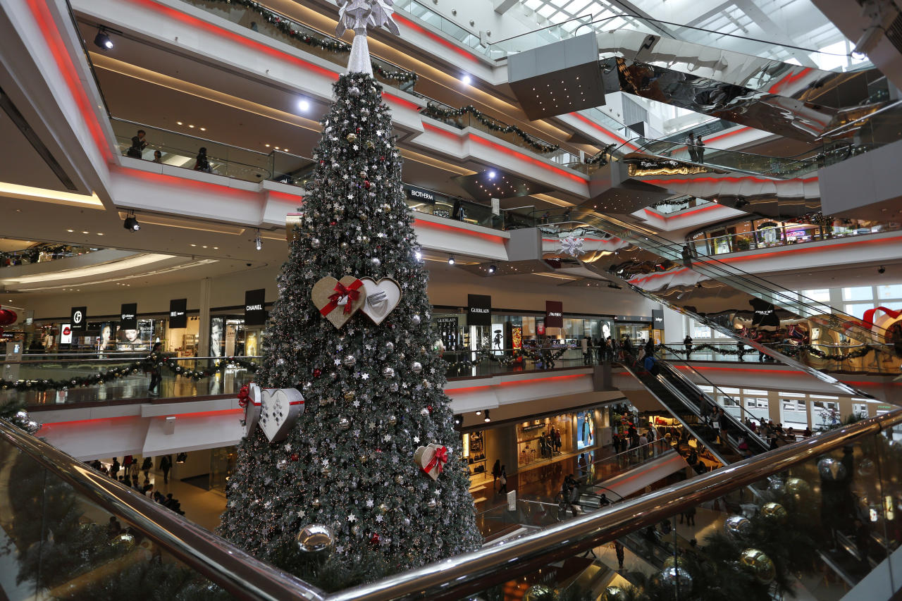 A Christmas tree is displayed at a shopping mall as the territory prepares to celebrate the Christmas holidays, in Hong Kong Monday, Nov. 26, 2012. (AP Photo/Vincent Yu)
