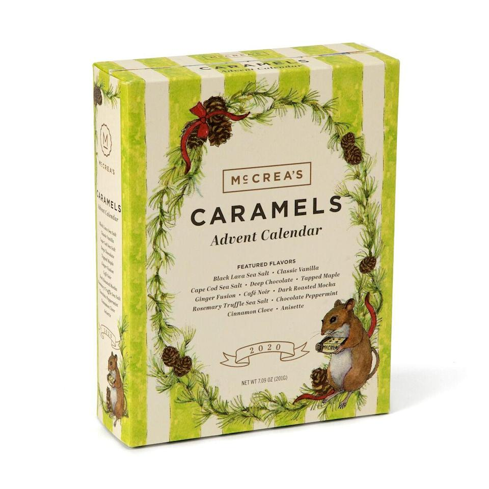"<h3>McCrea's Handcrafted Caramel Advent Calendar</h3><br>If you're not much of a chocoholic, then maybe some artisanal caramels will be more your speed. We love McCrea's classic calendar featuring everyone's favorite salty-sweet confection in unique flavors like coffee bean, clove, Hawaiian sea salt, and more.<br><br><strong>McCrea's</strong> Handcrafted Caramel Advent Calendar, $, available at <a href=""https://go.skimresources.com/?id=30283X879131&url=https%3A%2F%2Fwww.uncommongoods.com%2Fproduct%2Fhandcrafted-caramel-advent-calendar"" rel=""nofollow noopener"" target=""_blank"" data-ylk=""slk:Uncommon Goods"" class=""link rapid-noclick-resp"">Uncommon Goods</a>"