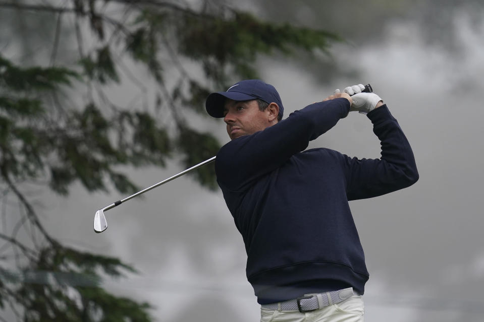 Rory McIlroy, of Northern Ireland, hits from the third tee during practice for the PGA Championship golf tournament at TPC Harding Park in San Francisco, Tuesday, Aug. 4, 2020. (AP Photo/Jeff Chiu)