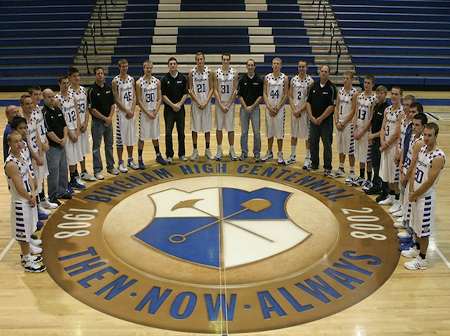 Bingham coach Mark Dubach (ninth from right) resigned amid verbal abuse and financial impropriety allegations -- binghamminers.org