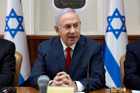 Israeli Prime Minister Benjamin Netanyahu attends the weekly cabinet meeting at the Prime Minister's office in Jerusalem February 17, 2019. Sebastian Scheiner/Pool via REUTERS