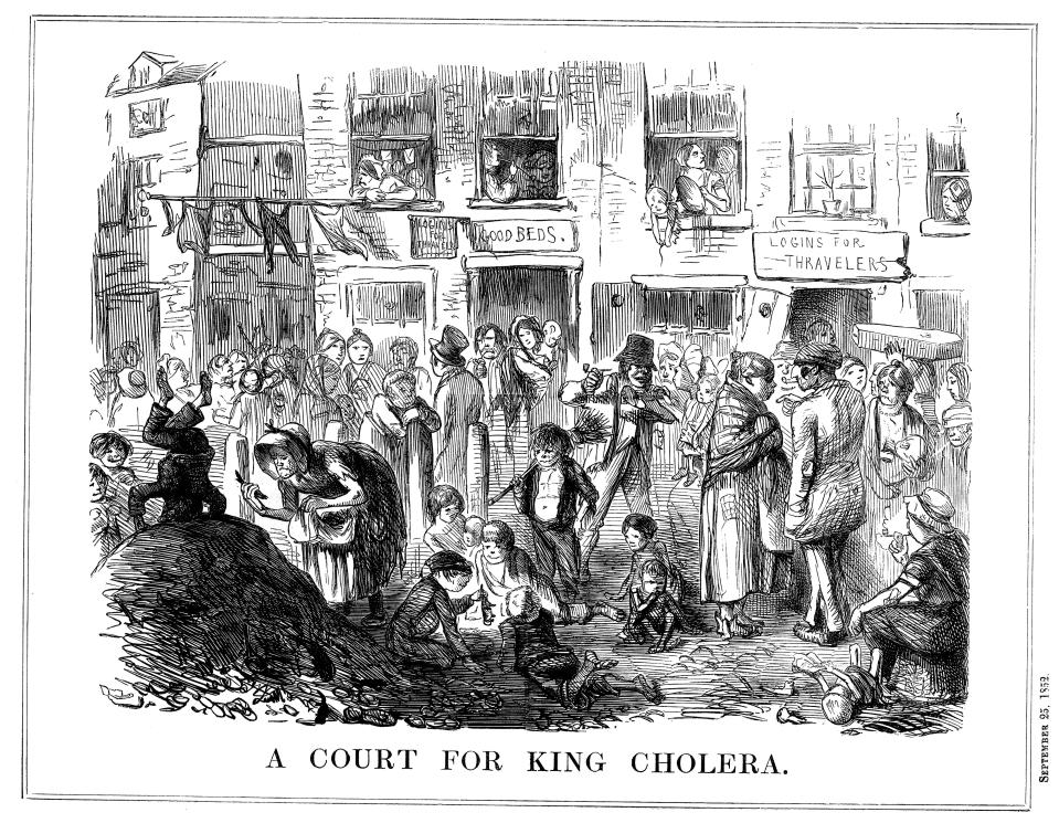 'A Court for King Cholera', 1852. A scene typical of the crowded, unsanitary conditions in London slums. Cholera first appeared in Britain in 1831, and outbreaks occurred regularly in London in the mid 19th century. Its relationship with contaminated water was not understood until established by John Snow (1813-1858). Snow published his theory in a pamphlet in 1849, but did not prove his findings to be correct until another epidemic occurred in 1854. His work led to legislation paving the way for dramatic improvements in all aspects of public health provision. Cartoon from Punch. (London, 25 September 1852). (Photo by Ann Ronan Pictures/Print Collector/Getty Images)
