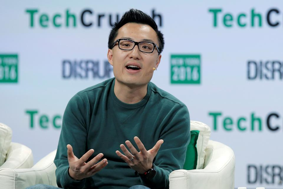 Tony Xu, CEO and Co-founder of DoorDash, speaks at the TechCrunch Disrupt event in Brooklyn borough of New York, U.S., May 11, 2016.  REUTERS/Brendan McDermid