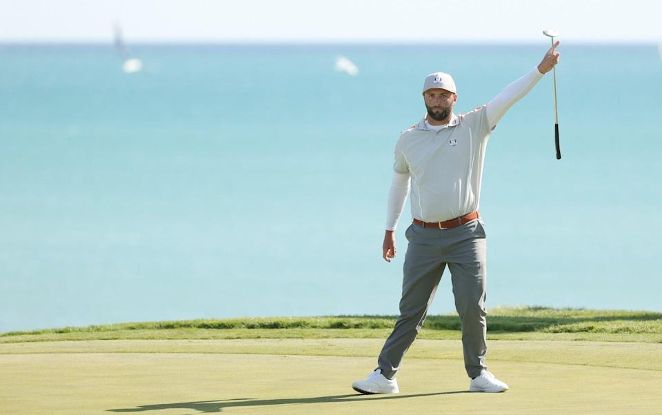 Jon Rahm of Spain and team Europe reacts on the third green during Saturday Morning Foursome Matches of the 43rd Ryder Cup at Whistling Straits on September 25, 2021 in Kohler, Wisconsin. - GETTY IMAGES