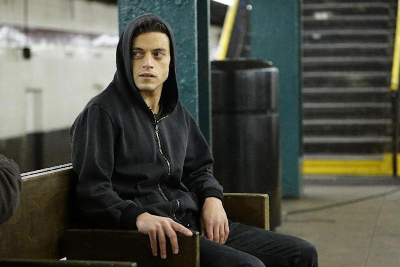 "In this image released by USA Network, Rami Malek appears in a scene from, ""Mr. Robot."" On Thursday, July 14, 2016, Malek is nominated for outstanding actor in a drama series for his role. The 68th Primetime Emmy Awards will be broadcast live Sunday on ABC beginning at 8 p.m. ET on ABC. (Peter Kramer/USA Network via AP)"