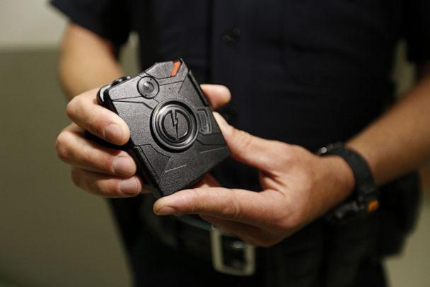 PHOTO: In this Aug. 31, 2015, file photo, a police officer demonstrates the use of a body camera during a training session in Los Angeles. (Al Seib/Los Angeles Times via Getty Images, FILE)