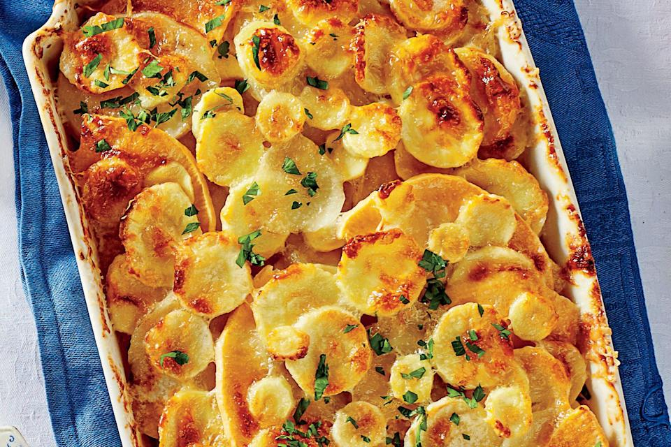 """<p><strong>Recipe: <a href=""""http://www.southernliving.com/recipes/root-vegetable-gratin"""" rel=""""nofollow noopener"""" target=""""_blank"""" data-ylk=""""slk:Root Vegetable Gratin"""" class=""""link rapid-noclick-resp"""">Root Vegetable Gratin</a></strong></p> <p>Enter the coziest root vegetable casserole you could ask for. With only six ingredients, it's as easy as it is delicious. </p>"""