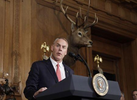 <p>FILE PHOTO: U.S. Interior Secretary Ryan Zinke speaks at the Interior Department in Washington, U.S., April 26, 2017. REUTERS/Kevin Lamarque </p>