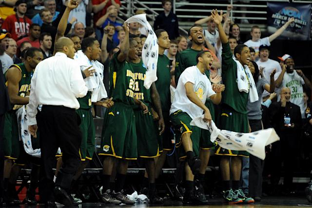 OMAHA, NE - MARCH 16: Players and coaches from the Norfolk State Spartans celebrate on the bench late in the second half against the Missouri Tigers during the second round of the 2012 NCAA Men's Basketball Tournament at CenturyLink Center on March 16, 2012 in Omaha, Nebraska. (Photo by Eric Francis/Getty Images)