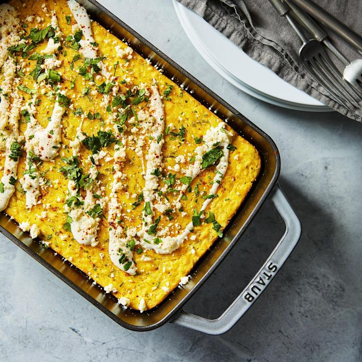 <p>If you like corn pudding, you'll love this creamy corn casserole! Sweet corn and tangy lime brighten up this easy casserole, while serrano chiles and cotija cheese add spice and a salty note to keep everything balanced.</p>