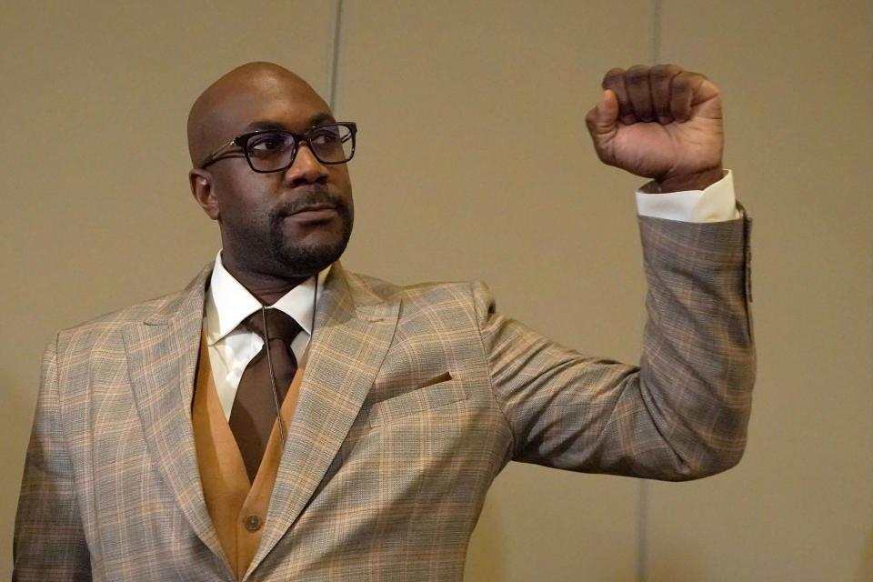 Philonise Floyd, brother of George Floyd, raises his fist following a news conference after the guilty verdict was read in the trial of former Minneapolis police Officer Derek Chauvin, Tuesday, April 20, 2021, in Minneapolis. (AP Photo/Julio Cortez)