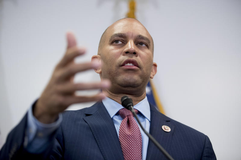 Democratic Caucus Chairman Rep. Hakeem Jeffries of N.Y., speaks at a news conference following a House Democratic caucus meeting on Capitol Hill in Washington, July 10, 2019. (Photo: Andrew Harnik/AP)