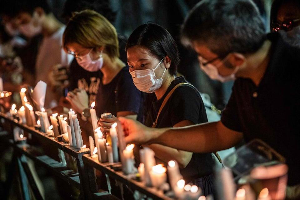 Part of the annual Tiananmen vigil that took place last year (AFP via Getty Images)