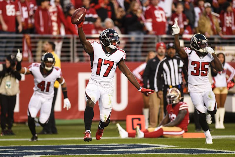 Olamide Zaccheaus's late touchdown meant nothing for the Falcons but everything for under bettors. (Cody Glenn/Icon Sportswire via Getty Images)