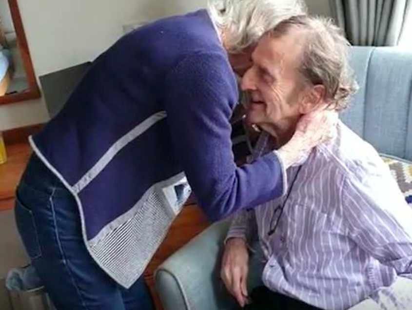 Colin and Jane Bagshaw hugged after spending two months apart. (SWNS)