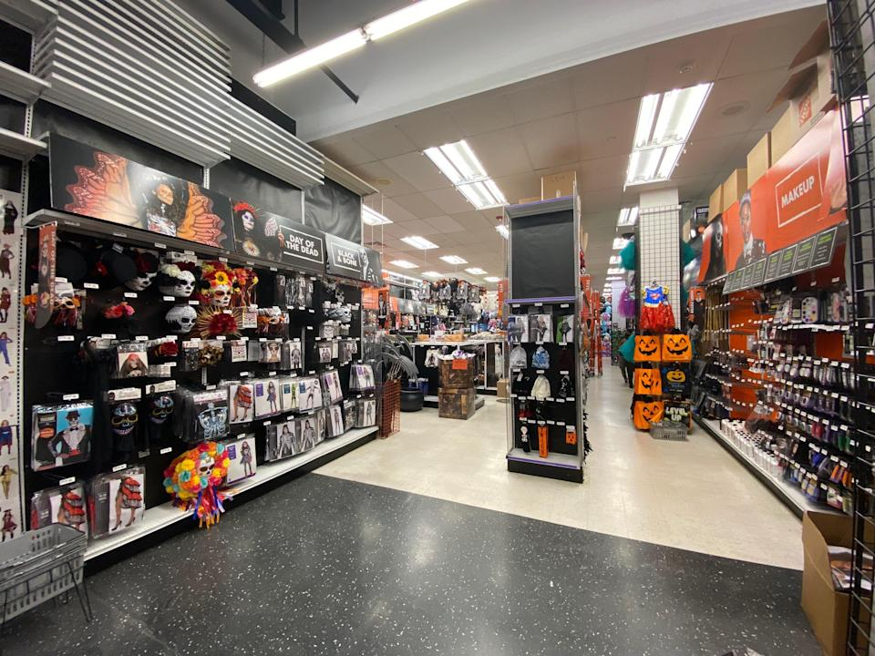 The three aisles considered the Halloween section at Party City.