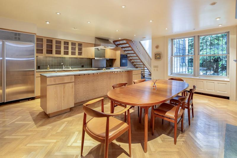 The kitchen has a more modern vibe.