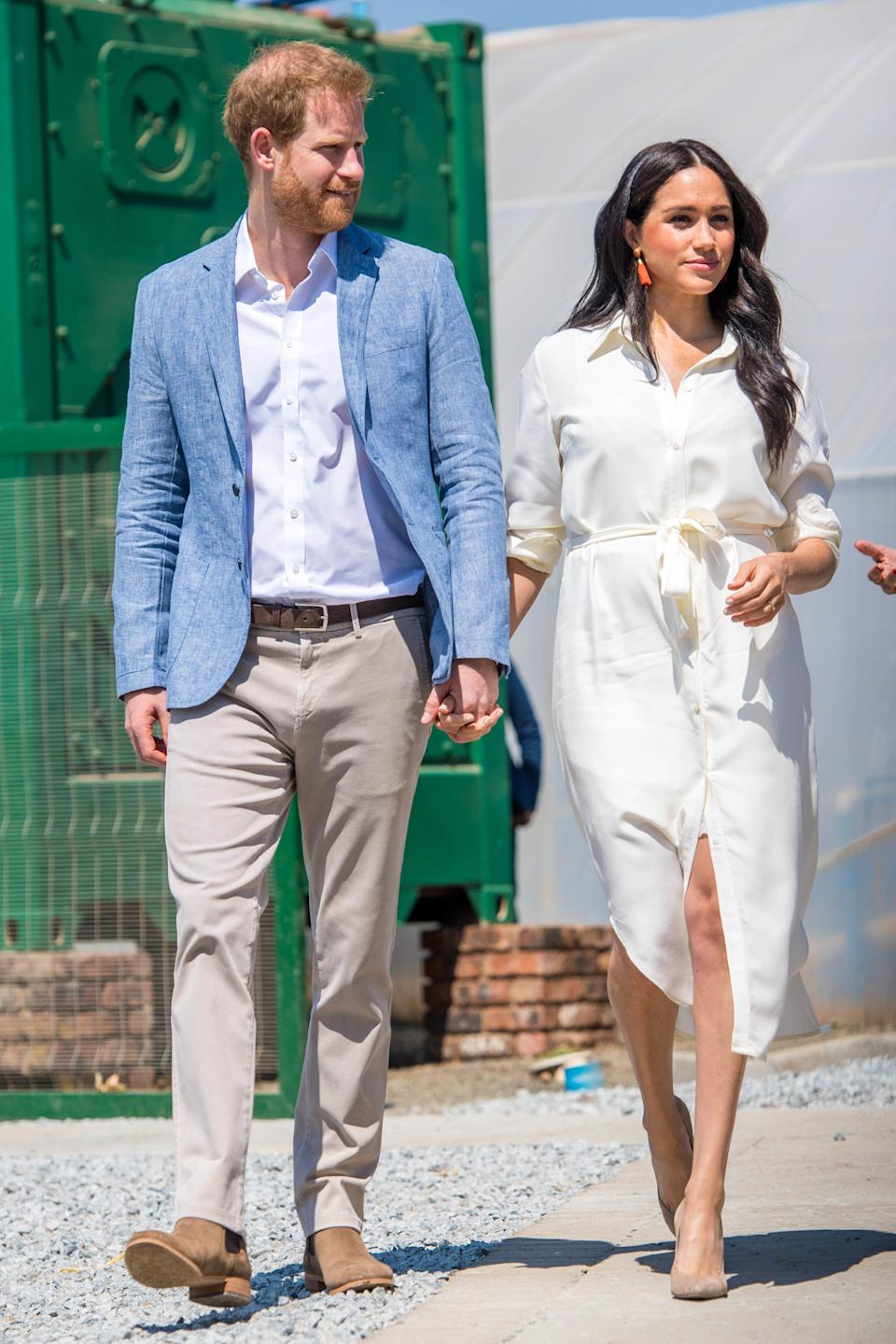 Meghan Markle, Duchess of Sussex, and Prince Harry visits the Youth Employment Services Hub in Tembisa township, Johannesburg, South Africa on October 2, 2019. They met inspiring local youth entrepreneurs and viewed skills initiatives addressing the rising unemployment challenge faced by youth in South Africa. (Photo by PPE/v.d. Werf/Sipa USA)