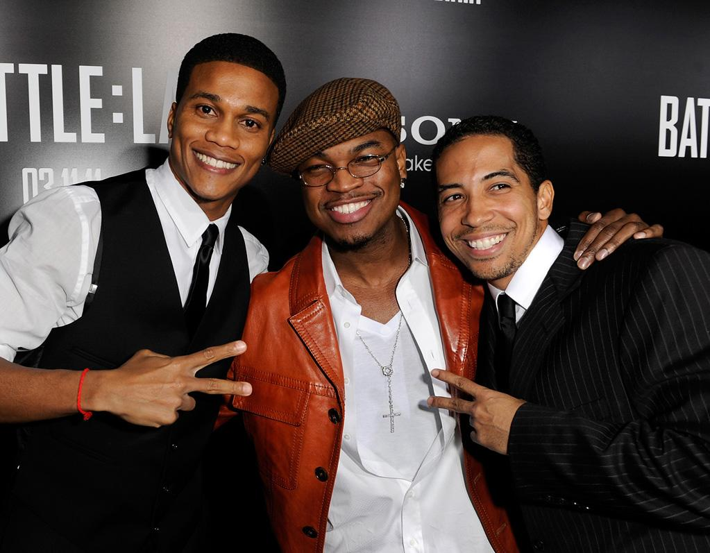 """<a href=""""http://movies.yahoo.com/movie/contributor/1808805399"""">Cory Hardrict</a>, <a href=""""http://movies.yahoo.com/movie/contributor/1809690948"""">Ne-Yo</a> and <a href=""""http://movies.yahoo.com/movie/contributor/1808916769"""">Neil Brown</a> at the Los Angeles premiere of <a href=""""http://movies.yahoo.com/movie/1810119633/info"""">Battle: Los Angeles</a> on March 8, 2011."""
