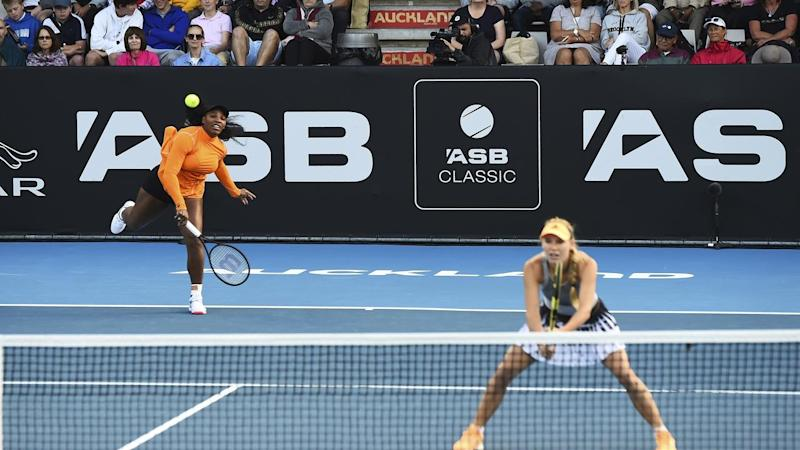 Serena Williams has defeated Camila Giorgi in her first match of 2020 at the Auckland Open