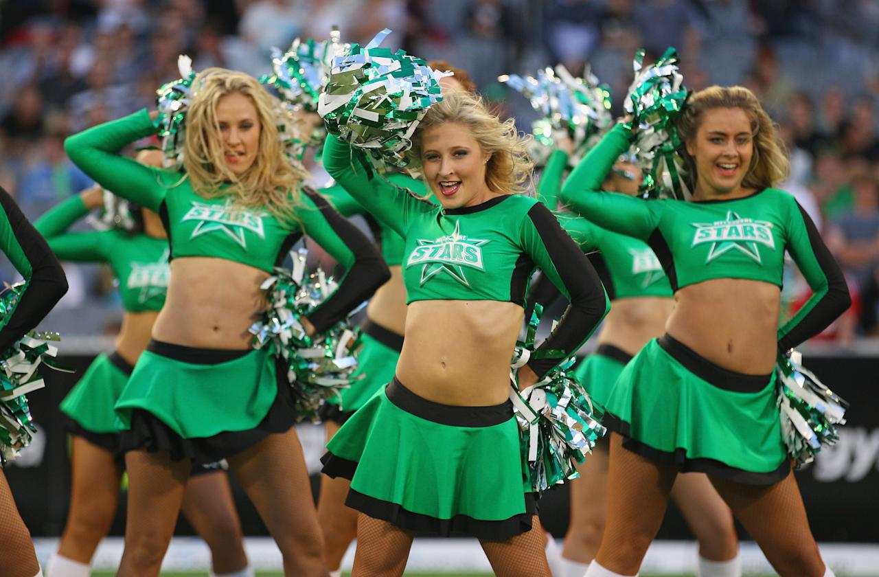 MELBOURNE, AUSTRALIA - DECEMBER 21:  The Stars cheerleaders perform during the Big Bash League match between the Melbourne Stars and the Sydney Sixers at Melbourne Cricket Ground on December 21, 2012 in Melbourne, Australia.  (Photo by Scott Barbour/Getty Images)