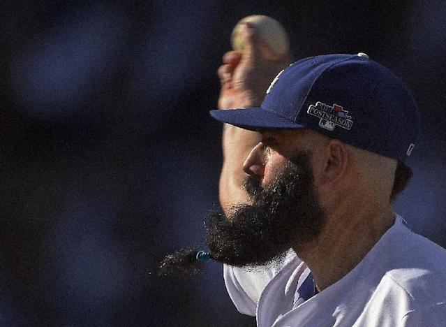 Los Angeles Dodgers relief pitcher Brian Wilson throws during the eighth inning of Game 5 of the National League baseball championship series against the St. Louis Cardinals Wednesday, Oct. 16, 2013, in Los Angeles. (AP Photo/Mark J. Terrill)
