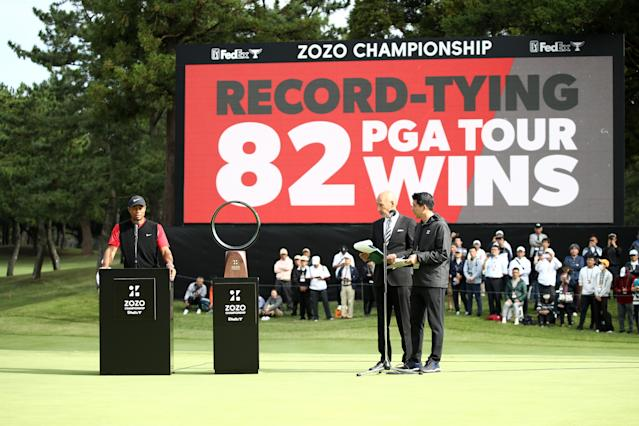 Woods equalled the record for the number of PGA tour wins. (Photo by Chung Sung-Jun/Getty Images)