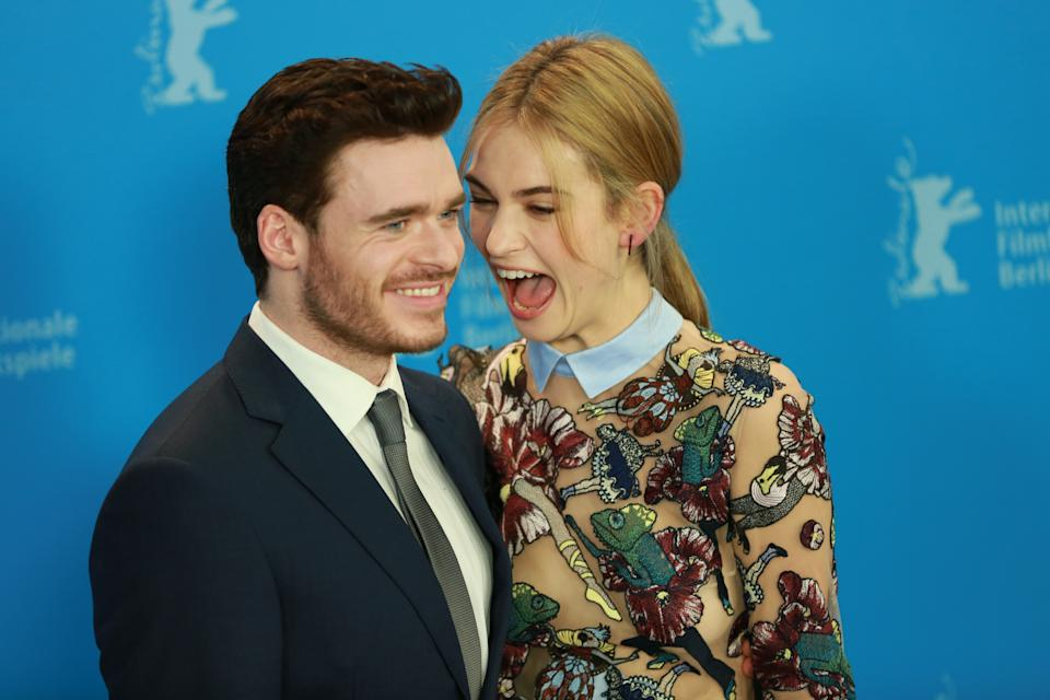 Lily James (right) and Richard Madden (left ) at the photo call at the Hyatt Hotel on Potsdamer Platz. (Photo by Simone Kuhlmey / Pacific Press) *** Please Use Credit from Credit Field ***
