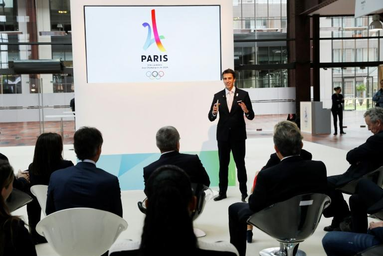 Co-president of the French National Olympic and Sports Committee Tony Estanguet delivers a speech during a visit of IOC president Thomas Bach to the 2024 Olympic games organising committee, in Saint-Denis, near Paris, in October 2016