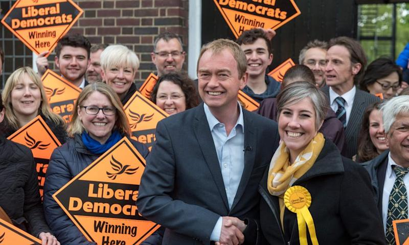 Liberal Democrat leader Tim Farron campaigning in St Albans.