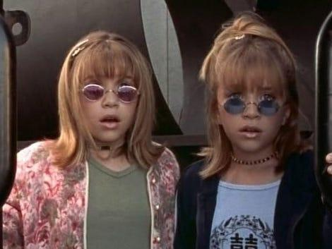 """young Mary-Kate and Ashley Olsen in """"Billboard Dad"""""""