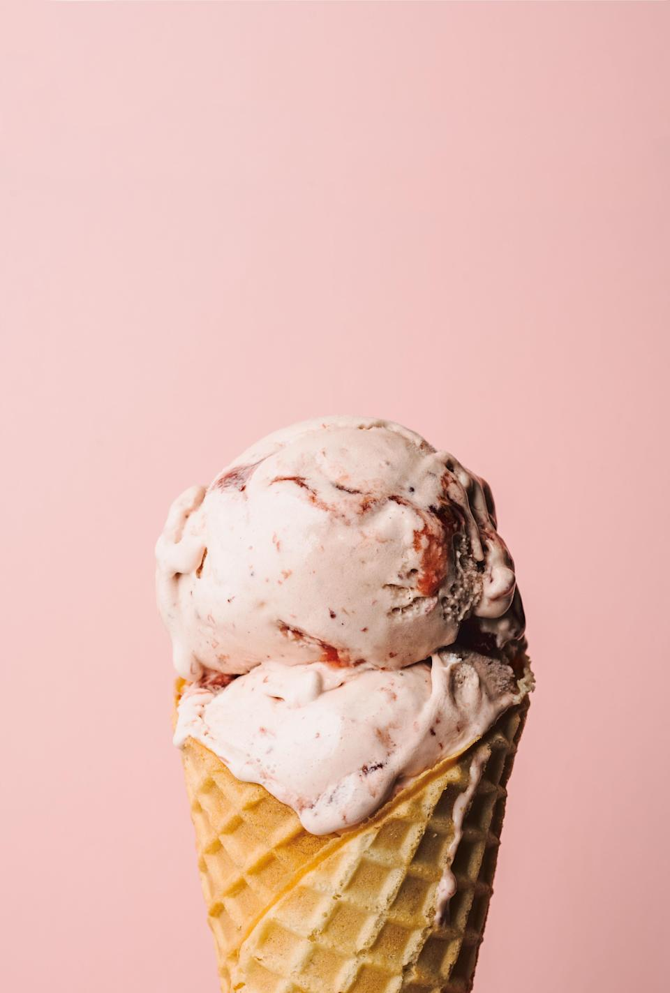 "This recipe takes sweet, rich strawberry ice cream up a notch with honey balsamic vinegar, which adds some tang, and finely ground black pepper, which brings a little spice. <a href=""https://www.epicurious.com/recipes/food/views/strawberry-honey-balsamic-with-black-pepper-ice-cream-salt-straw?mbid=synd_yahoo_rss"" rel=""nofollow noopener"" target=""_blank"" data-ylk=""slk:See recipe."" class=""link rapid-noclick-resp"">See recipe.</a>"