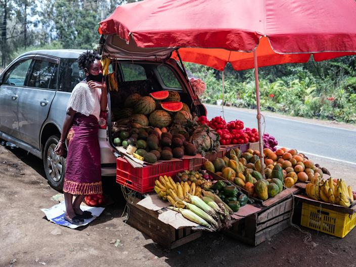 Image: Vegetables sold from a car in Kenya (Nichole Sobecki / for NBC News)