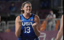 United States' Stefanie Dolson celebrates during a women's 3-on-3 basketball game against Russian Olympic Committee at the 2020 Summer Olympics, Sunday, July 25, 2021, in Tokyo, Japan. (AP Photo/Jeff Roberson)